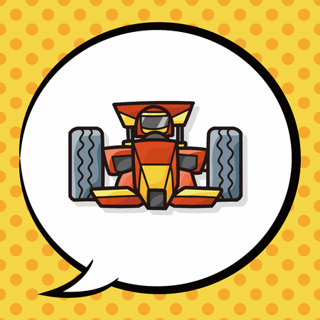 sports race: race car doodle, speech bubble