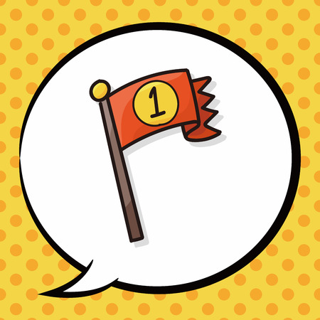 checker flag: race flag doodle, speech bubble Illustration