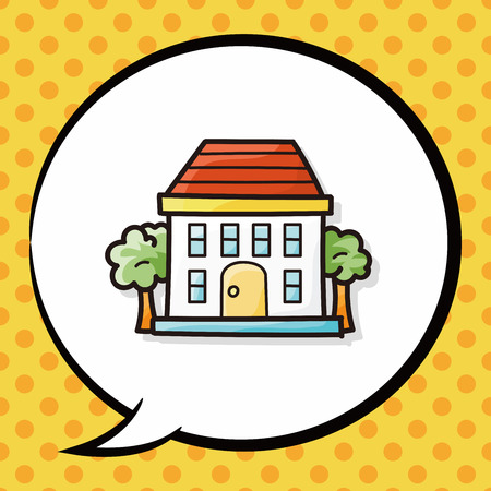 building: building doodle, speech bubble Illustration