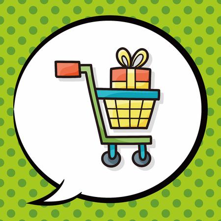 shopping cart doodle, speech bubble Stock Illustratie