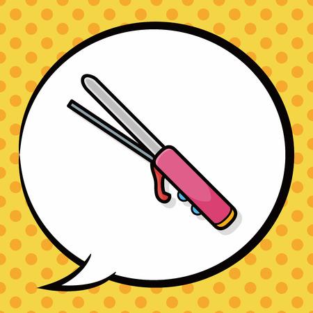 rulos: Curlers doodle, speech bubble Vectores