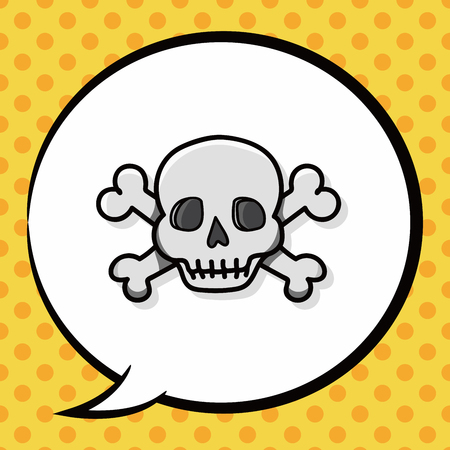 skull doodle, speech bubble Illustration