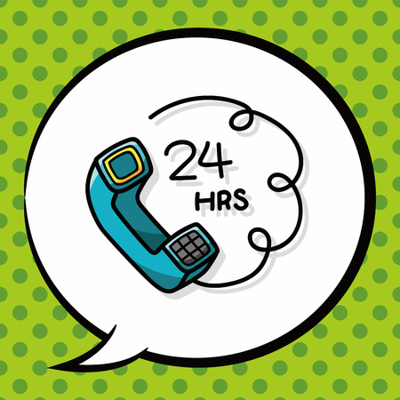 phone service: phone service doodle, speech bubble Illustration