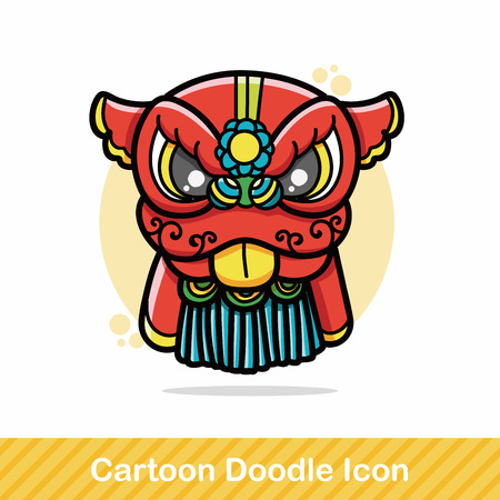chinese new year dragon: Chinese new year dragon and lion dancing head doodle