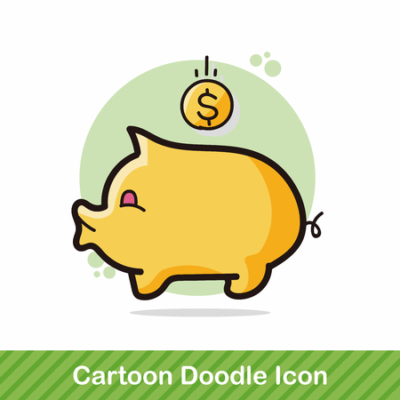 piggybank color doodle Illustration