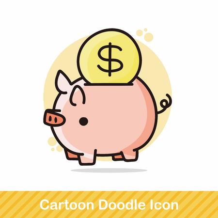 piggybank doodle Illustration