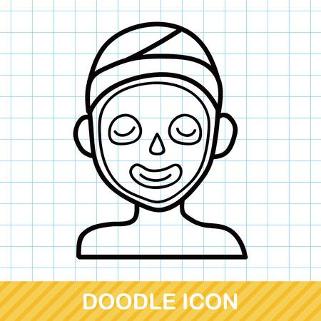 facial mask: Facial mask doodle Illustration