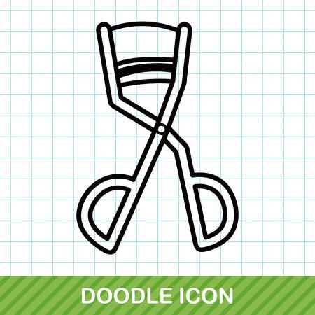 curler: Eyelash curler doodle Illustration