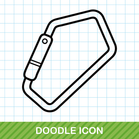 climbing gear: Climbing safety lock doodle Illustration