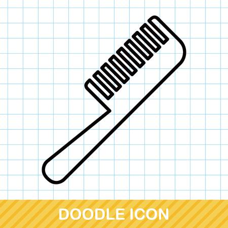 beauty care: comb doodle Illustration