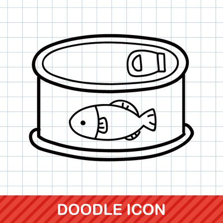 feed: Fish feed can doodle Illustration