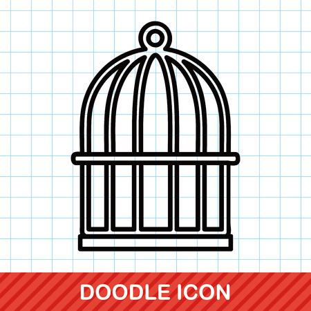 cage à oiseaux doodle Vecteurs