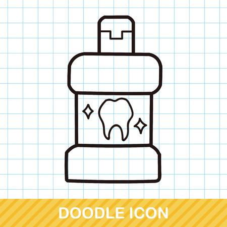 mouthwash: Enjuague bucal del doodle Vectores