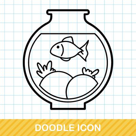 gold fish bowl: fish bowl doodle Illustration