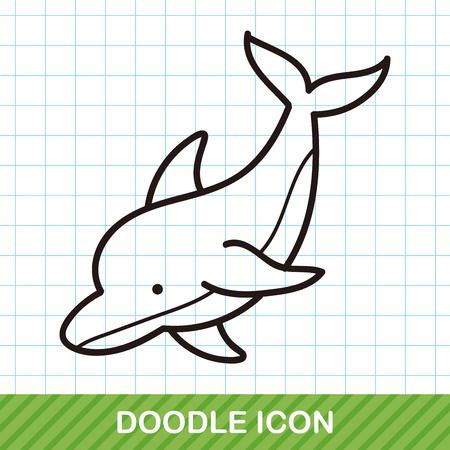 morze delfin zwierząt doodle Ilustracje wektorowe
