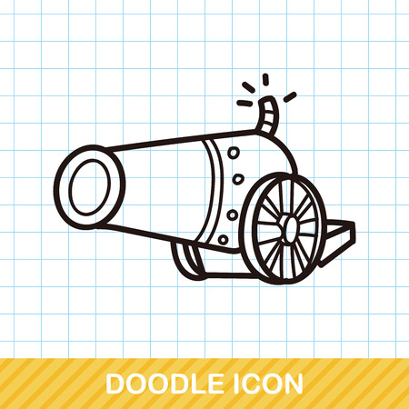 military and war icons: Cannon doodle