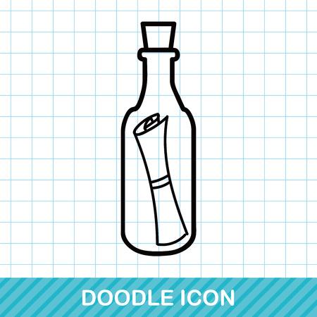 castaway: Message in a Bottle doodle Illustration