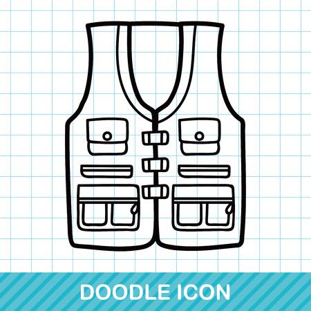 waistcoat: Fishing vest doodle Illustration