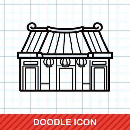 chinese temple: Chinese New Year traditional temple doodle
