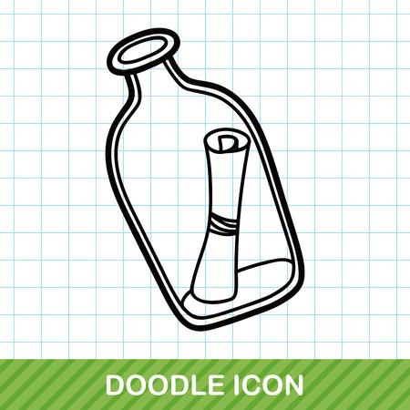 message in the bottle: Message in a Bottle doodle Illustration