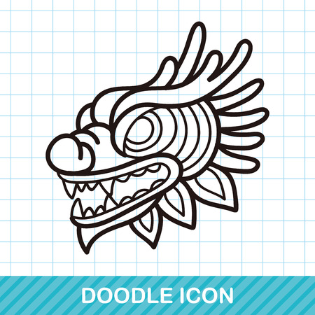 lion dance: Chinese new year dragon and lion dancing head doodle