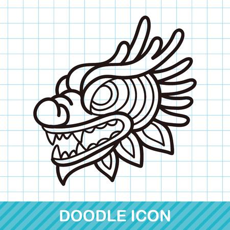 dragon chinois: Chinois nouveau dragon de l'année et tête de lion de danse doodle