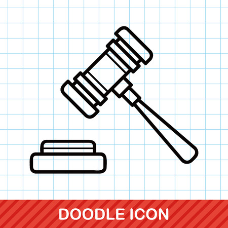 auctioning: Gavel doodle Illustration
