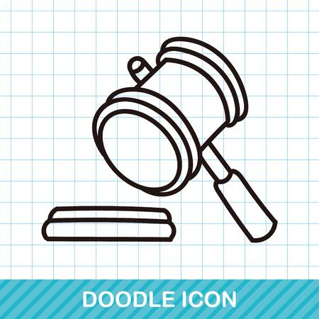 auction: Gavel doodle Illustration