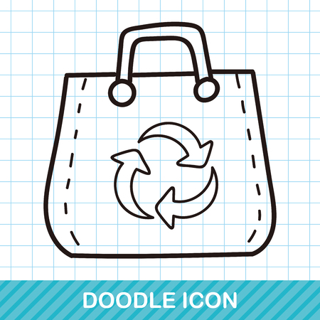 or recycled: Recycled shopping bag doodle Illustration