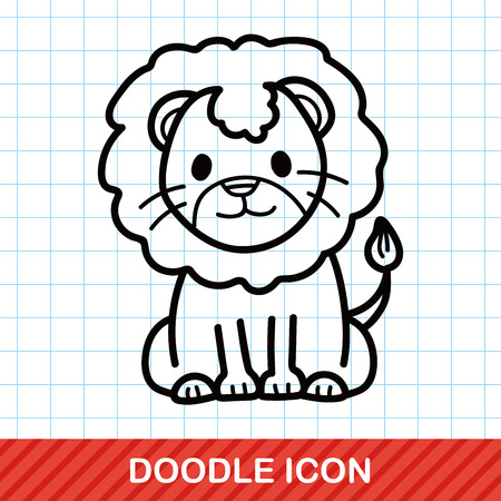 hand drawing: animal lion doodle