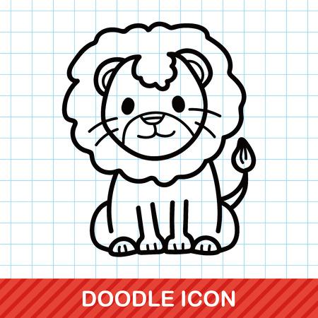 dessin enfants: animaux lion doodle