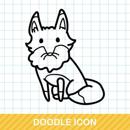 zoo: animal fox doodle Illustration
