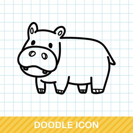 illustration zoo: animal hippo doodle