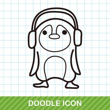 illustration zoo: animal penguin doodle