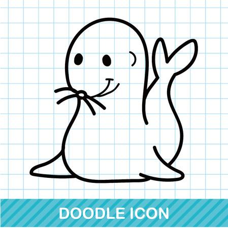 animal: animal seal doodle Illustration