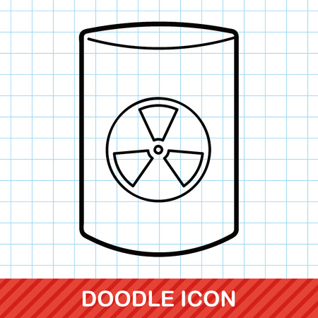uranium radioactivity: nuclear power doodle Illustration