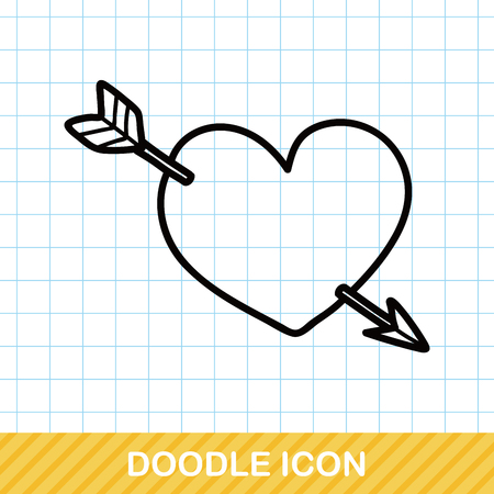 heart arrow: valentines heart arrow doodle