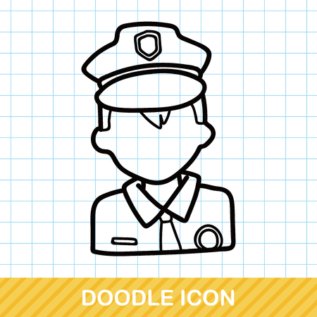 police girl: career character policeman doodle Illustration