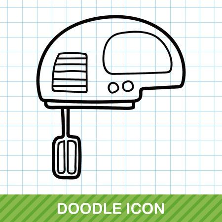 kitchen utensil: Mixer doodle Illustration
