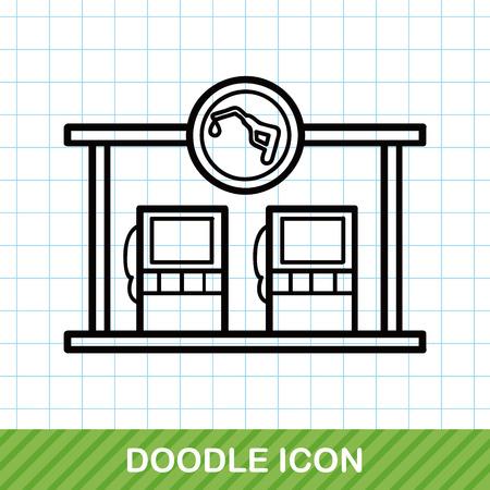 refuel: gas station doodle