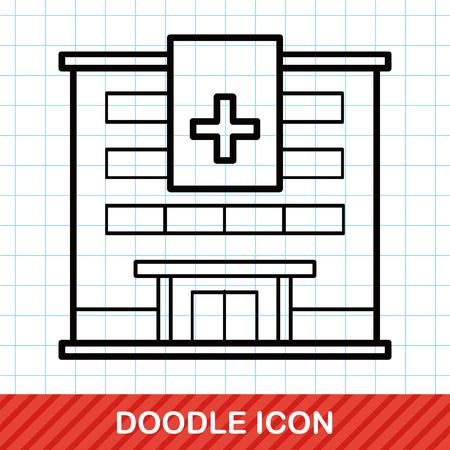 construction paper art: hospital building doodle