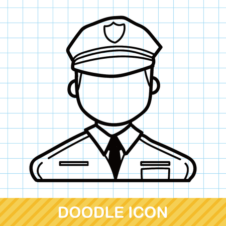 cartoon police officer: career character policeman doodle Illustration
