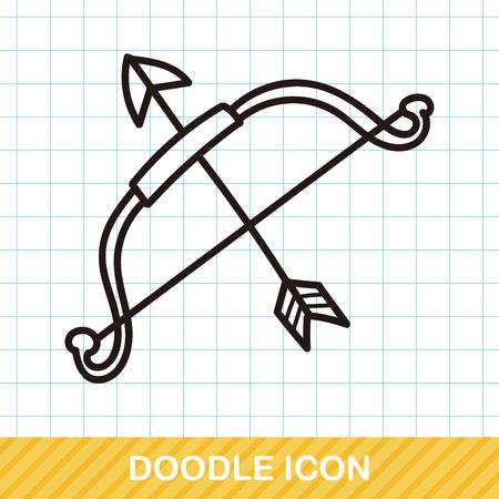 hand gun: weapon doodle Illustration