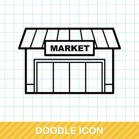 vendors: market store doodle
