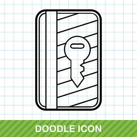 hotel key: hotel key card doodle