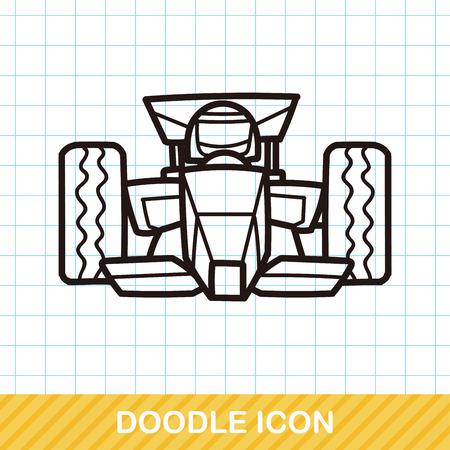 racecar: race car doodle Illustration