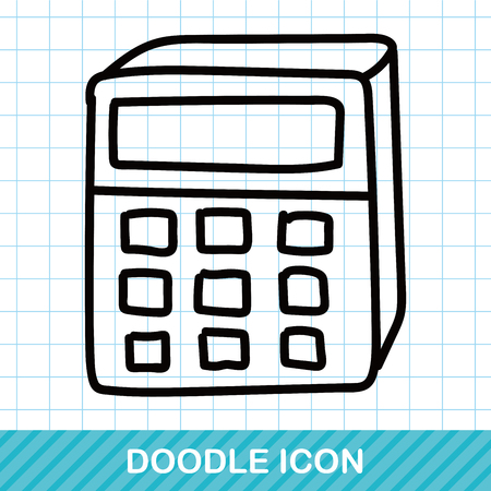 electronic background: calculator color doodle Illustration