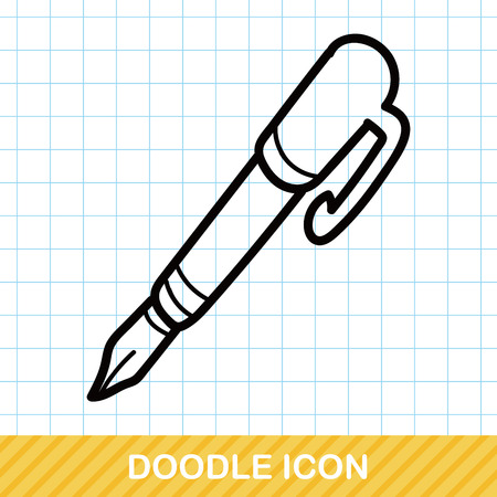stationery background: pen and pencil color doodle Illustration