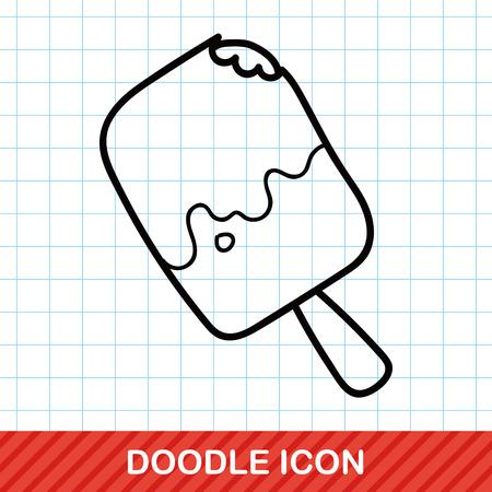ice cream cup: ice stick doodle Illustration