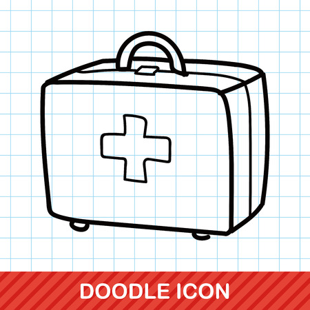 medical illustration: First aid kit doodle